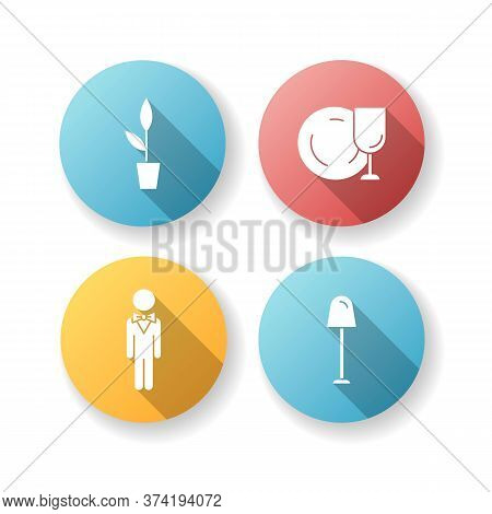Restaurant Flat Design Long Shadow Glyph Icons Set. Potted Plant For Cafe Decoration. Clean Tablewar