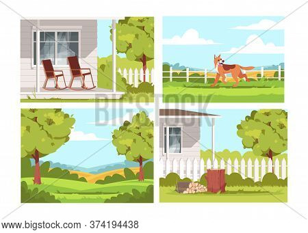 Village Lifestyle Semi Flat Vector Illustration Set. Villa Patio With Empty Armchairs. Dog Play Outs