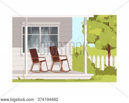 Empty Armchairs On Villa Patio Semi Flat Vector Illustration. Rural Lifestyle, Summer Recreation In