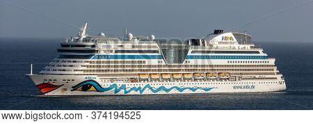 Carlisle Bay, Barbados, West Indies - May 16, 2020: Aida Luna Cruise Ship Anchored Next To Barbados