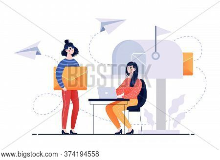 Email Service Showing A Letter In Transit From A Young Woman On A Laptop Being Carried By A Girl Aft