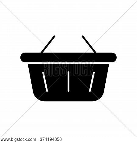 Shopping Basket Black Glyph Icon. Buy Groceries. E Commerce Consumer. Retail In Supermarket. Hyperma
