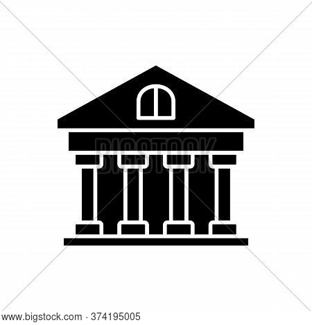 Bank Black Glyph Icon. Classic Building With Pillars. Government Building. University Structure. Ina