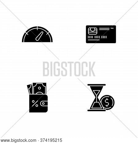 Deposit Money Black Glyph Icons Set On White Space. Countdown To Payout. Credit Card. Bank Operation
