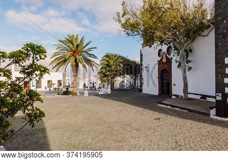 Lanzarote, Spain - April 04, 2020. The Old Architecture Of City Of Teguise. Church Iglesia De Nuestr