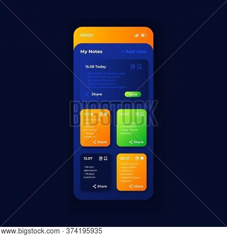 Personal Organizer App Smartphone Interface Vector Template. Mobile App Page Night Mode Design Layou