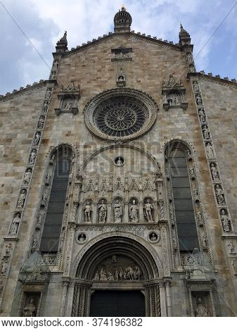Como, Lombardy, Italy - 24th August 2019 : Low Angle View Of The Beautiful Como Cathedral (also Know