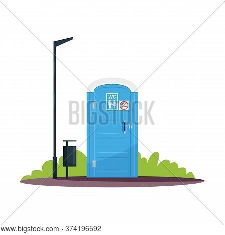 Public Wc With No Smoking Sign Semi Flat Rgb Color Vector Illustration. Blue Movable Chemical Toilet