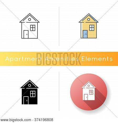 House Icon. Suburban Building. Home For Living. Downtown Dwelling. Real Estate Ownership. Investment