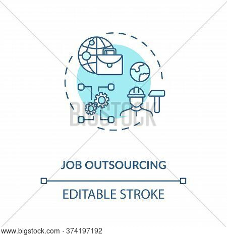 Job Outsourcing Turquoise Concept Icon. Freelance Position. Delegate Work To Foreign Employee. Remot