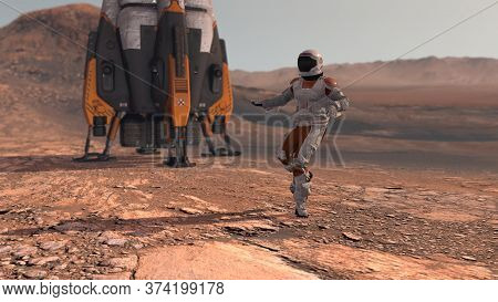 Astronaut Dancing On Mars Red Planet. Exploring Mission To Mars. Futuristic Colonization And Space E