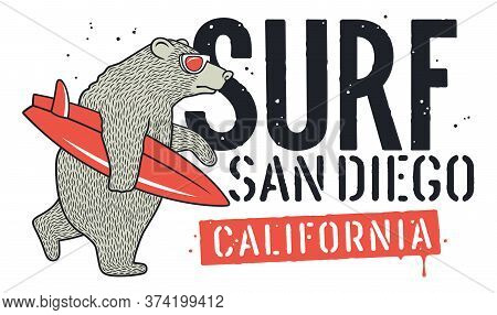 Bear With Sunglasses And Surfboard For T-shirt Design. Surfing Graphic Tee For Kids. Funny Illustrat