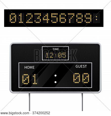 Realistic Vector 3d Digital Modern Sports Scoreboard. Digital Led Display To Displaying The Result O