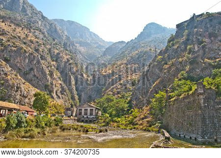 Old Dormant Hydroelectric Power Plant Is Located In A Mountain Gorge In The Place Where The Mountain