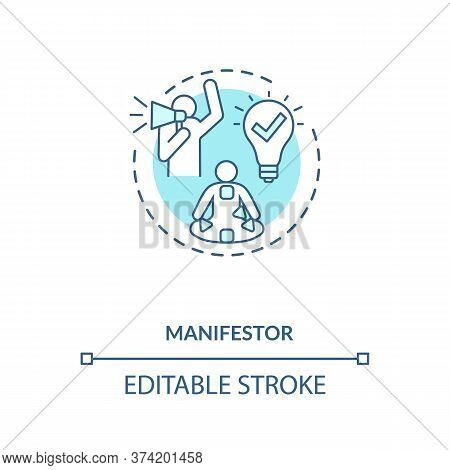 Manifestor Turquoise Concept Icon. Astrological Body Graph With Energy Centers. Human Design Type Id