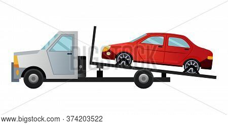 Tow Truck. Cool Flat Towing Truck With Broken Car. Road Car Repair Service Assistance Vehicle With D
