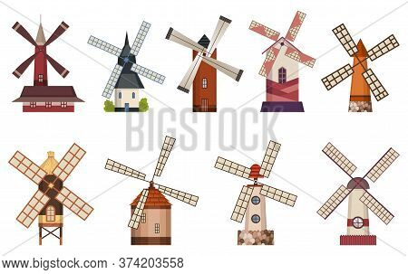 Collection Of Traditional Ancient Windmill Buildings. Rural Organic Agricultural Production, Ecologi