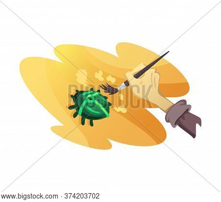 Egyptian Archeology Excavations. Cartoon Treasure Hunting. Vector Concept With Archeologist Digging