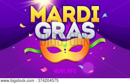 Mardi Gras Design Element. Mardi Gras Party Mask Poster. Holiday Poster, Banner, Flyer Template
