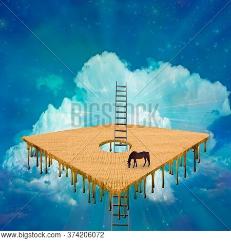 Magical Surreal Scene. Horse in hovering square field. 3D rendering