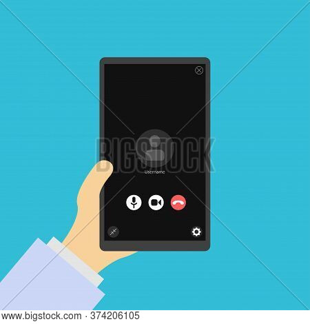 Phone In Hand, Video Call. Video Conversation Icon. Video Conference. Layout Of Video Conferences An