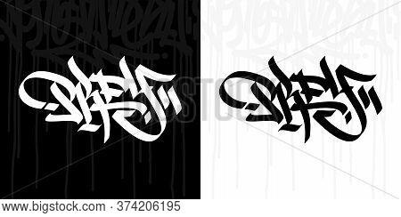 Abstract Hip Hop Hand Written Graffiti Style Word Prey Vector Illustration Art