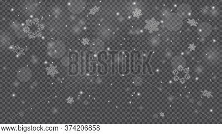 Winter Snowfall. Falling Snow, Flakes Banner. Christmas Snowfall Border Isolated On Transparent Back