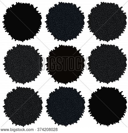 Vector Black And Grey Pompom Rows Contrast Boho Style Seammless Repeating Pattern Perfect Forfabric,