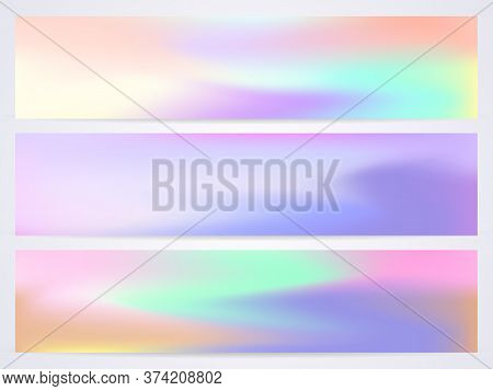 Modern Pastel Vector Template For Banner. Set Of Fluid Modern Templates With Iridescent Shades Of Di