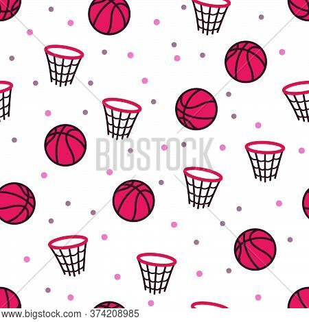 The Design Of Basketball And Net Patterns, For Those Who Like Basketball, Can Be Used For Fabrics, T