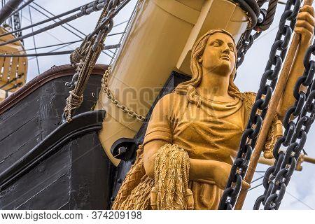 Golden Figurehead In The Bow Of The Frigate Jylland In Ebeltoft, Denmark, September 9, 2019