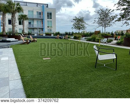Orlando, Fl/usa - 6/20/20:  An Apartment Complex Outdoor Amenity Area In The Lake Nona Area Of Orlan