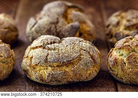 Broa Is A Type Of Corn And Wheat Bread Traditionally Made In Portugal, Galicia And Brazil. Flour Is