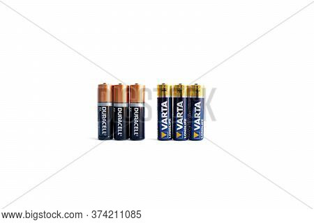 Kiev, Urkaine, 18 June 2020, Three Varta Aa Alkaline Battery And Three Duracell Aa Alkaline Battery