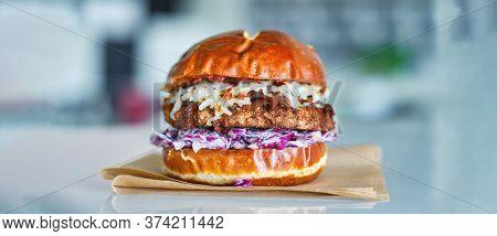 vegan fried chicken sandwich made with meatless alternative
