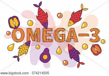Flat Vector Illustration Of Fish, Seafood, Fatty Acids Oil, Avocado, Walnut. Omega 3 Sources Banner