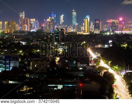 Night Panorama Of The Capital Of Indonesia - Jakarta.