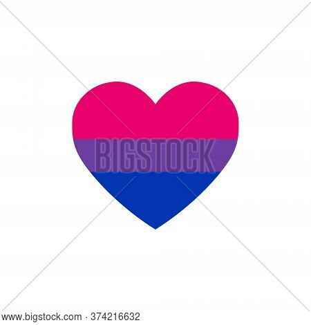Bisexual Flag Heart, Lgbtq Community Flag, Vector Illustration