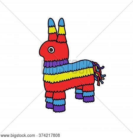 Mexican Donkey Pinata Toy Doodle Iocn, Vector Illustration