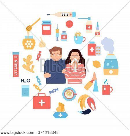 Cold And Flu Treatments. Circle Flat Icons On White Background. Sick Persons Woman Man Runny Nose Ha