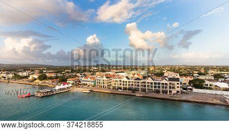 Panorama View Of The Port Of Kralendijk, Bonaire, Netherlands Antilles.
