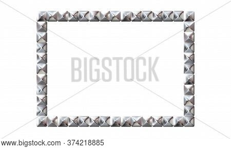 Rectangle Realistic Frame From Silver Square Rivets Pyramid Claws For Leather. Slender On White Back