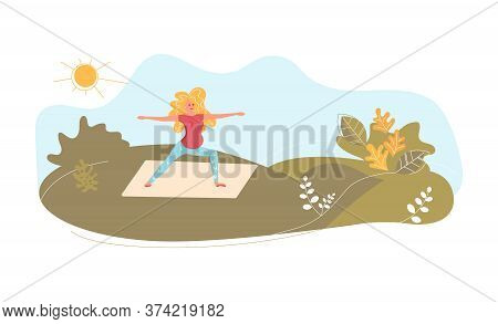 Young Pregnant Woman On The Meadow In Yoga Pose. Metaphor Of Freedom And Harmony With Nature. Flat A