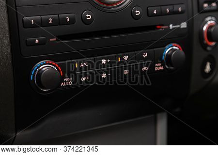 Novosibirsk/ Russia - June 10 2020: Nissan Pathfinder  , Close Up Instrument Automobile Panel With