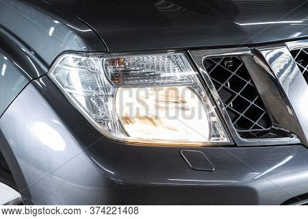Novosibirsk/ Russia - June 10 2020: Nissan Pathfinder  ,  Detail Light Close Up Of On New Car. Exter