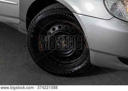 Novosibirsk/ Russia - June  23 2020: Toyota Corolla,  Car Wheel With Alloy Wheel And New Rubber On A