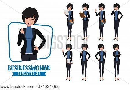 Businesswoman Character Vector Set. Business Woman Office Female Employee Characters In Different St