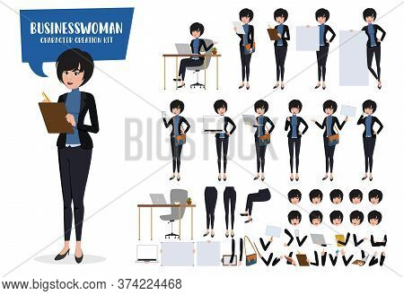 Businesswoman Character Creation Vector Set. Business Woman Characters Editable Create Kit Female Of