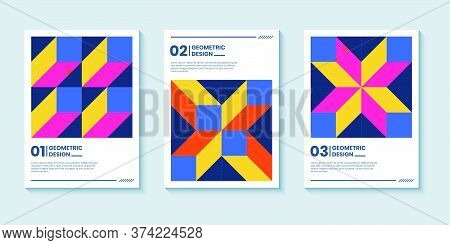 Modern Abstract Bright Color Covers Set, Minimal Covers Design. Colorful Geometric Background