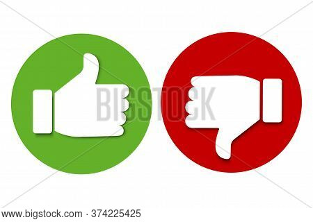 Yes And No Icons, Like And Dislike. Green And Red Badge Of Approval And Hostility. Thumb Up And Down